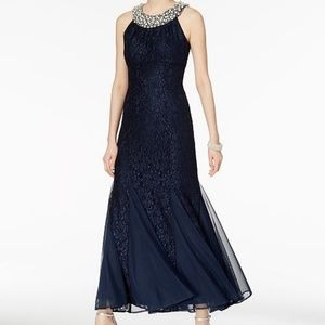 R&M Richards Embellished Lace Gown Pearl Bead $129